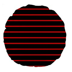 Red And Black Horizontal Lines And Stripes Seamless Tileable Large 18  Premium Round Cushions