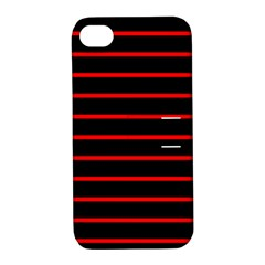 Red And Black Horizontal Lines And Stripes Seamless Tileable Apple Iphone 4/4s Hardshell Case With Stand