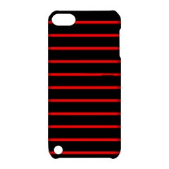 Red And Black Horizontal Lines And Stripes Seamless Tileable Apple Ipod Touch 5 Hardshell Case With Stand