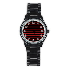 Red And Black Horizontal Lines And Stripes Seamless Tileable Stainless Steel Round Watch