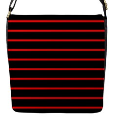 Red And Black Horizontal Lines And Stripes Seamless Tileable Flap Messenger Bag (s)