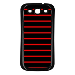 Red And Black Horizontal Lines And Stripes Seamless Tileable Samsung Galaxy S3 Back Case (black)