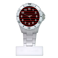 Red And Black Horizontal Lines And Stripes Seamless Tileable Plastic Nurses Watch