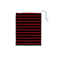 Red And Black Horizontal Lines And Stripes Seamless Tileable Drawstring Pouches (small)