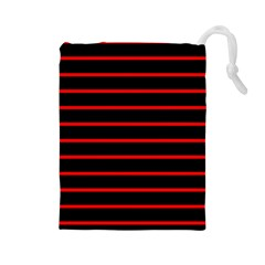 Red And Black Horizontal Lines And Stripes Seamless Tileable Drawstring Pouches (large)