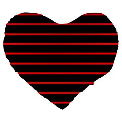 Red And Black Horizontal Lines And Stripes Seamless Tileable Large 19  Premium Flano Heart Shape Cushions
