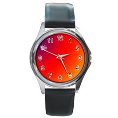 Rainbow Background Round Metal Watch