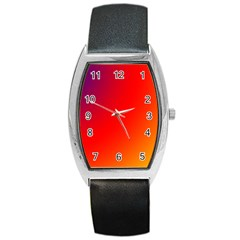 Rainbow Background Barrel Style Metal Watch