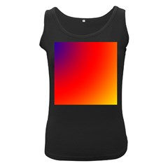 Rainbow Background Women s Black Tank Top