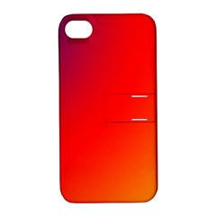 Rainbow Background Apple Iphone 4/4s Hardshell Case With Stand