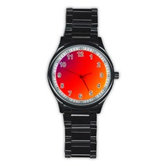 Rainbow Background Stainless Steel Round Watch