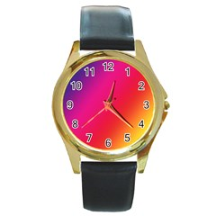 Rainbow Colors Round Gold Metal Watch