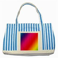 Rainbow Colors Striped Blue Tote Bag