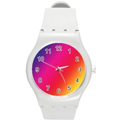 Rainbow Colors Round Plastic Sport Watch (m)