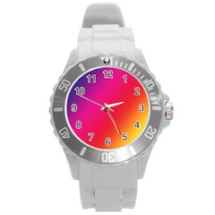 Rainbow Colors Round Plastic Sport Watch (l)