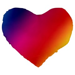 Rainbow Colors Large 19  Premium Heart Shape Cushions