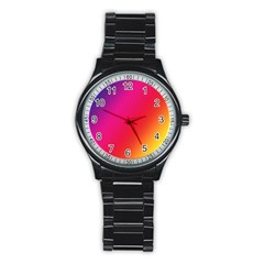Rainbow Colors Stainless Steel Round Watch