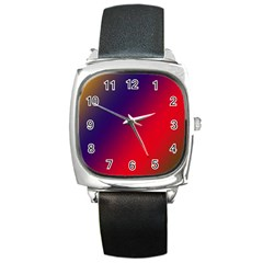 Rainbow Two Background Square Metal Watch
