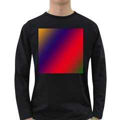 Rainbow Two Background Long Sleeve Dark T Shirts