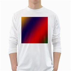 Rainbow Two Background White Long Sleeve T Shirts
