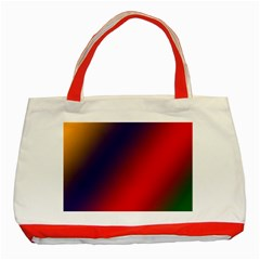 Rainbow Two Background Classic Tote Bag (red)