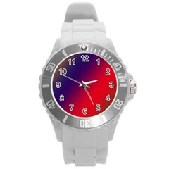 Rainbow Two Background Round Plastic Sport Watch (l)