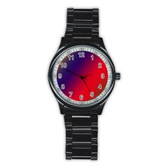 Rainbow Two Background Stainless Steel Round Watch