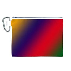 Rainbow Two Background Canvas Cosmetic Bag (l)