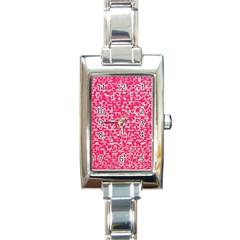 Template Deep Fluorescent Pink Rectangle Italian Charm Watch