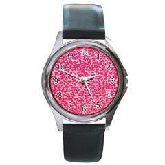 Template Deep Fluorescent Pink Round Metal Watch
