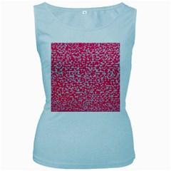 Template Deep Fluorescent Pink Women s Baby Blue Tank Top