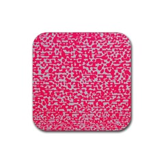 Template Deep Fluorescent Pink Rubber Square Coaster (4 Pack)