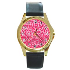 Template Deep Fluorescent Pink Round Gold Metal Watch