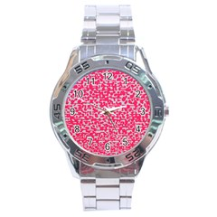 Template Deep Fluorescent Pink Stainless Steel Analogue Watch