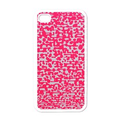 Template Deep Fluorescent Pink Apple Iphone 4 Case (white)
