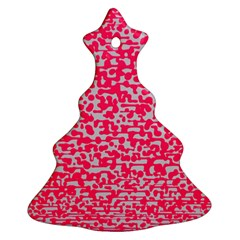 Template Deep Fluorescent Pink Christmas Tree Ornament (two Sides)