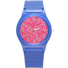 Template Deep Fluorescent Pink Round Plastic Sport Watch (s)