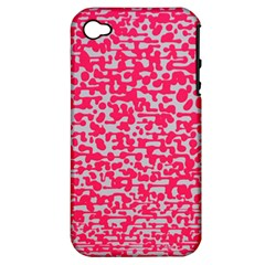 Template Deep Fluorescent Pink Apple Iphone 4/4s Hardshell Case (pc+silicone)
