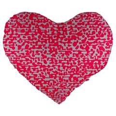 Template Deep Fluorescent Pink Large 19  Premium Heart Shape Cushions