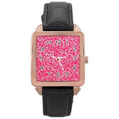 Template Deep Fluorescent Pink Rose Gold Leather Watch