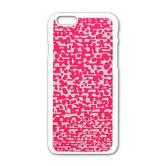 Template Deep Fluorescent Pink Apple Iphone 6/6s White Enamel Case