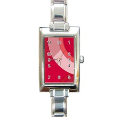 Red Material Design Rectangle Italian Charm Watch
