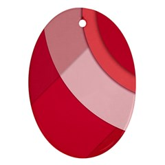 Red Material Design Ornament (oval)
