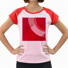 Red Material Design Women s Cap Sleeve T Shirt