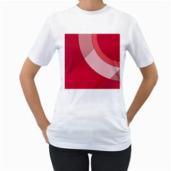 Red Material Design Women s T-Shirt (White) (Two Sided)