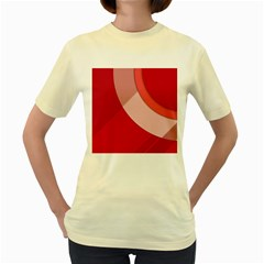 Red Material Design Women s Yellow T Shirt