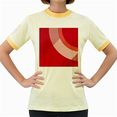 Red Material Design Women s Fitted Ringer T Shirts