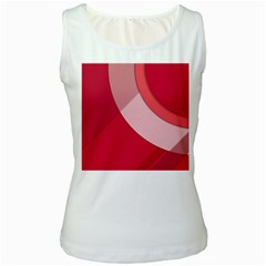 Red Material Design Women s White Tank Top