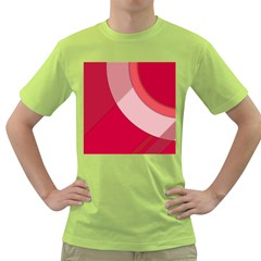 Red Material Design Green T Shirt