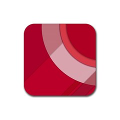 Red Material Design Rubber Square Coaster (4 pack)